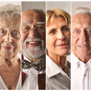 Senior men and women smiling